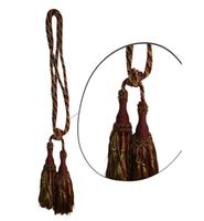 Klasszikus zsinóros kétfejes függönyelkötő – Bordó arany  szín