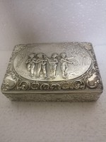 ANTIK ezüst német 800 ROSENAU   zenélő angyalok doboz  aranyozva