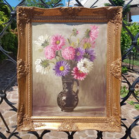 Murin Vilmos: Őszirózsa, olaj, vászon 40 x 50 cm, csendélet, antikizált blondel képkeret