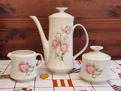 Alföldi tulipános kávéskanna, cukortartó, tejszínes kiöntő (Blanka)