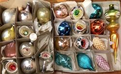 Régi retro üveg karácsonyfadísz 23 db