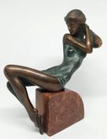 """Czobor Sándor """"Aletta"""" c. bronzszobor, eredetiségigazolás, ingyen posta"""