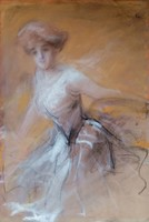 Mesés hölgy, 1900 as évek eleje. Jelzett.