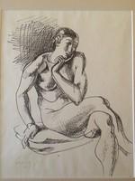 Medveczky Jenő: Ülő női akt, 1941 tusrajz, római iskola