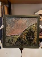 Klie Zoltán festmény, 52x58+bontatlan kerete, olaj, farost, vagy karton