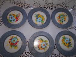 6 db jelzett ón , porcelánfajansz betéttel pohártartó
