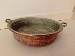 Antik konyhai eszköz ónozott vörösréz tarkedli sütő sárgaréz füllel  4228