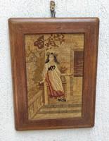 Antik Gobelin-Szövött kép fa keretben, szecesszió, különleges darab,pàrja is eladó