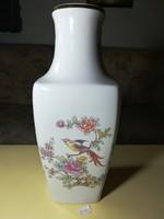 Hollóházi váza, nagyméretű, aranykarimás