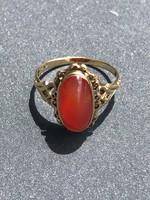 14k antik arany gyűrű borostyánnal