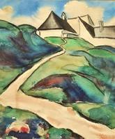 Országh Imre Ferenc (1901 - 1974) Tabán környékén. festménye EREDETI GARANCIÁVAL Látogatók: 2 Kosárb