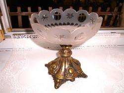 Antik asztalközép kínálótál-fém és csiszolt üveg