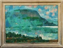 Hatalmas 126x96cm Gulyás Dénes (1927 - 2003) Balaton , Badacsony olajfestménye EREDETI GARANCIÁVAL