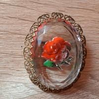 Antik rózsa kristály bross