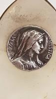 Régi ezüst ROSA MYSTICA (Szűz Mária) érme oyix kőre foglalva réz tartón