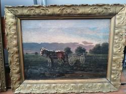 Antik jelzett lovas festmény hagyatékból