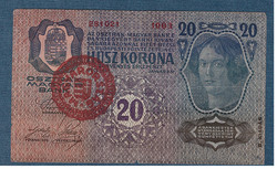 1920 20 Korona 1913 II. kiadás VF MAGYARORSZÁG bélyegzéssel