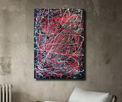 Vörös Edit: Jackson Pollock Style Abstract N21018 70x50cm
