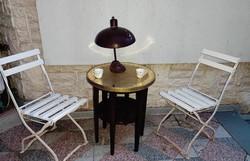 Különleges ritkaság réz tetejű teàzó,kàvézó vág dohànyzó asztal szobortartó posztamensnek, mahagóni