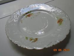 Antik szecessziós Csipkézett,gazdag dombormintás,virágmintás Elbogen tányér 19,5 cm