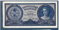 1946 1000000000 MILPENGŐ ( Egymilliárd Milpengő )  VF