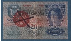 1920 20 Korona 193 I. kiadás VF MAGYARORSZÁG bélyegzéssel Andráskereszt