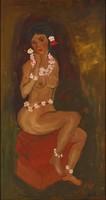 1E920 Király Zsuzsa : Tahiti női akt virágkoszorúval