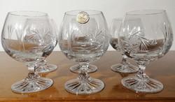 Gyönyörűen kézzel metszett, talpas, ünnepi kristály pohár készlet, 6 db boros vagy likőrös  (Ér-532)