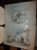 Kopasz Márta (1911-2011) két nagy grafikája, vegyes technika, 47x67+üvegezett alukeret