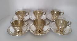 Ezüst teás készlet, kapucsínós készlet, 6 személyes
