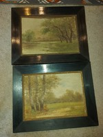 Gyarmaty szignós festménypáros, 25x35 cm+eredeti keretük, karton, olaj