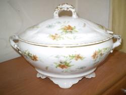 Régi szoknyalábas virágos fedeles aranyszélű porcelán leveses tál hibátlan