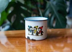 Pingvin mintás zománcos bögre - tábori bögre