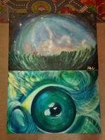 61x92 cm, festménypáros, vászon, olaj, hibátlanok...