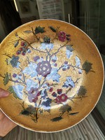 Zsolnay pecs 1880 goldbrokkat tanyer 26 cm