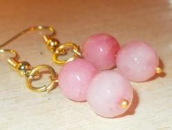 Rózsaszínű Jade fazettált csiszolású Gyöngy Aranyozott Fülbevaló