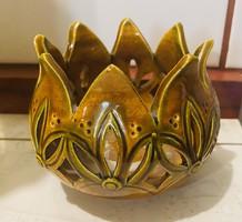Különleges Szép Tulipán Formájú Kerámia mécses Tartó jelzéssel