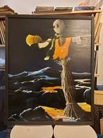 Molnár István: Illusztráció, festmény, olaj, farost, 90x110 cm+ keret