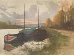 Henri Jourdain: Pihenő hajók, eredeti jelzett, színezett rézkarc, sérült