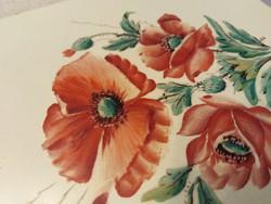 Meissen-i csempe, kézzel festett pipacsokkal