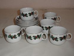 Karácsonyi porcelán kávés készlet ( 6 személyes )