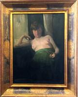 Ism.festő 2007-ben 400 000 Ft-ért aukción szerepelt félakt festménye,olaj-fa