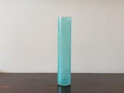 Ritka azúrkék Karcagi fátyol üveg váza hosszúkás repesztett üveg Berekfürdő