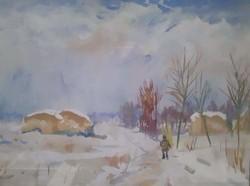 Téli táj - ismeretlen akvarell szép keretben