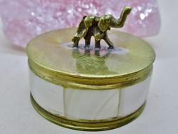 Szép kis antik art deco elefántos gyöngyház réz szelence