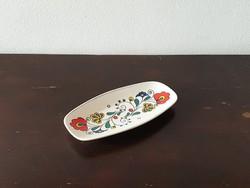 Kalocsai virágos Zsolnay Pécs porcelán tál tálka ékszertartó hamutál színes népies mintával retro