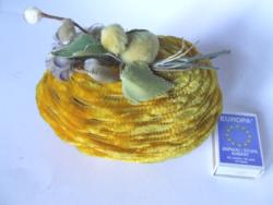 Régi, antik zsenília borítású papír húsvéti tojás doboz kiscsibe díszítéssel