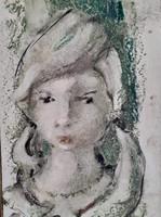Leány portréja zöldre hangolva, olaj-farost jelzett