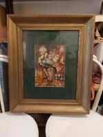 Kövér, erotikus témájú festmény, 21x30+paszpartu+keret, olaj, karton