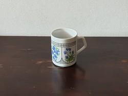Zsolnay Pécs porcelán bögre igazi retro kék virágos mintával csésze pohár